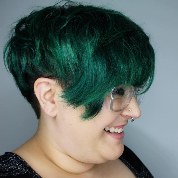 Meghan with dark green hair