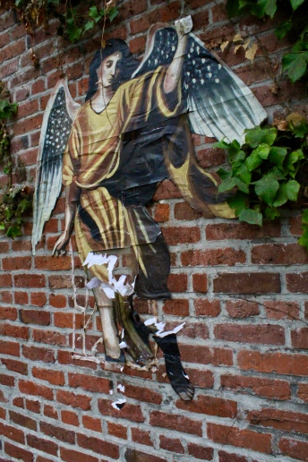 Angel on brick, Pioneer Square, Seattle