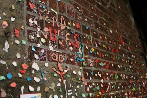Gum Wall art found in Post Alley, Seattle