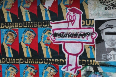 Political art found in Post Alley, Seattle