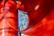 Trees through the Olympic Iliad (Alexander Liberman, 1984) sculpture at the Seattle Center- December 2017