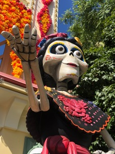Dia de los muertos skeleton for tribute to Coco at Disney's California Adventure