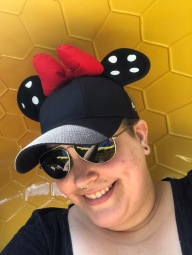 Minnie Mouse Ears Hat purchased at Disneyland Resort in Anaheim- Black hat with black and white polka dot ears and red bow