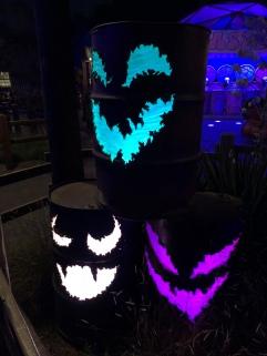 Barrel jack o lanterns in Cars Land during Halloween Time 2018 at Disney California Adventure