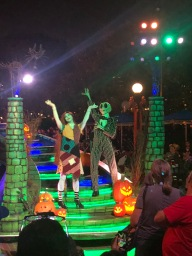 Jack and Sally from the Nightmare Before Christmas on their float during the parade for Mickey's Halloween Party during Halloween Time at Disneyland 2018