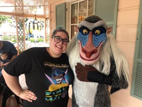 Rafiki at Minnie and Friends breakfast at the Plaza Inn in Disneyland, Halloween Time 2018
