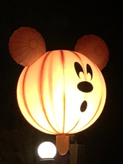 Mickey Mouse Pumpkin light during Halloween Time at Disneyland at Mickey's Halloween Party