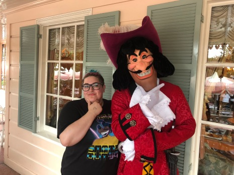 Captain Hook at Minnie and Friends breakfast at the Plaza Inn in Disneyland, Halloween Time 2018
